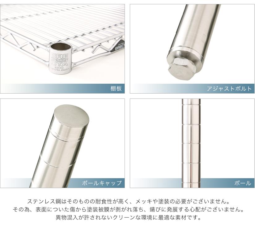 ステンレス鋼は耐食性が高く、メッキや塗装の必要がございません。クリーンな環境に最適な素材です。