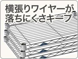 スリムシェルフ@横張りワイヤーが落ちにくさキープ