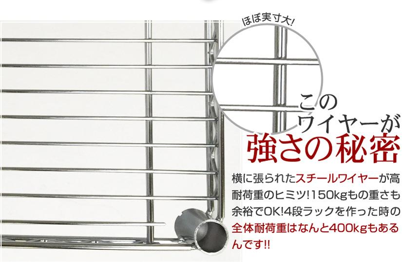 このワイヤーが強さの秘密。横に張られたスチールワイヤーが高耐荷重のヒミツ!150㎏もの重さも余裕でOK!