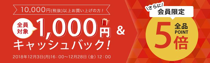1,000円キャッシュバック